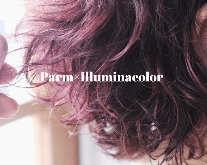 ショートのパーマヘアにイルミナカラーでピンク